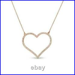 1.75 Ct Round Cut Diamond 10k Rose Gold Over Classic Open Heart Pendant Necklace