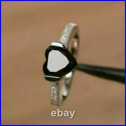 1.80 Ct Heart Cut Black Diamond Solitaire Engagement Ring 14K White Gold Over