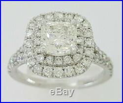 1.89 ct Platinum Hearts on Fire Dream Cut Diamond Halo Engagement Ring GIA Ideal