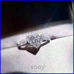 1 CT Princess Round Cut Micro Pave Halo Diamond Heart Shaped Promise Ring WG FN