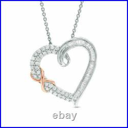 1 Ct Round Cut Diamond Heart Pendant Necklace 14k White Gold Over
