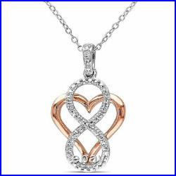 1 Ct Round Cut Diamond Heart with infinity Pendant Necklace 14k White Gold Over