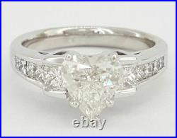 2CT Heart Cut Diamond Solitaire Wedding Engagement Ring 14K White Gold Over