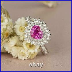 2CT Heart-Cut Pink Sapphire Diamond Halo Engagement Ring Solid 14K White Gold FN