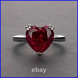 2Ct Heart Cut Red Garnet Diamond Solitaire Engagement Ring 14K White Gold Finish
