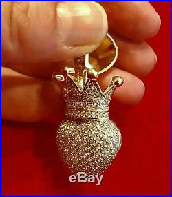 2Ct Round Cut Diamond 3D Crown Charm Heart Pendant 14K Yellow Gold Over