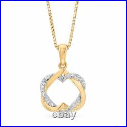 2.00Ct Round Cut Diamond Heart Pendant Necklaces 14K Yellow Gold Over