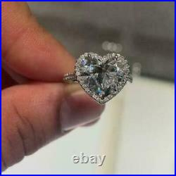 2.00ct Heart Cut White Diamond Halo Engagement Ring 925 Sterling Silver