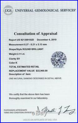 2.11ct CERTIFIED IDEAL CUT DIAMOND HEARTS ARROWS ROUND BRILLIANT NATURAL 2 CARAT