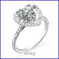 2.20 Ct Natural Heart Cut Halo Pave Diamond Engagement Ring GIA Certified
