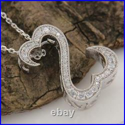3Ct Round Cut VVS1 Open Heart Pendant Necklace For Womens 14K White Gold Finish