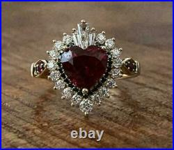 3.00 Ct Heart Cut Red Garnet & Diamond Halo Engagement Ring 14k Yellow Gold Over