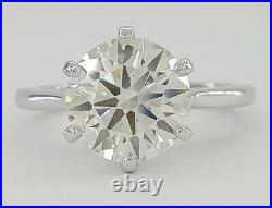3.02 ct Hearts on Fire HOF Ideal Round Cut Diamond Solitaire Engagement Ring GIA