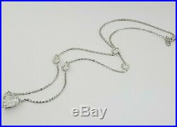 5.81 ct 14k White Gold Heart Brilliant Cut Diamond By The Yard Necklace D / I1