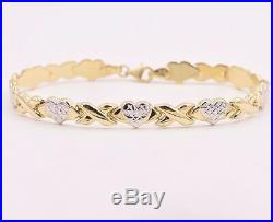 7.25 Diamond Cut Hearts and Kisses Stampato Bracelet Real 10K Yellow White Gold
