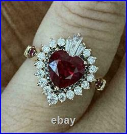 9mm 3.00ct Heart Cut Red Diamond Halo Women's Engagement Ring 14k Yellow Gold Fn