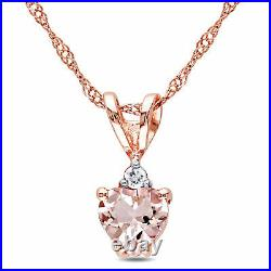Amour 10k Rose Gold Heart-cut Morganite and Diamond Accent Necklace