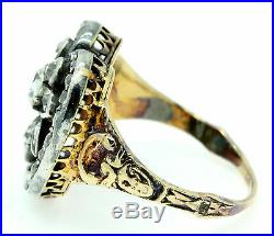 An Unusual 2ct Old Cut Diamond Stylised Heart & Flower Ring Circa 1800s