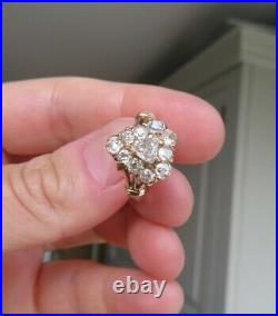 Antique 1ct Old Cut Diamonds 18ct Gold Heart Shape Ring size N