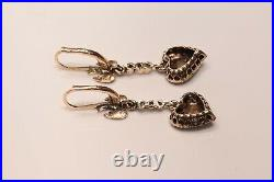 Antique 9k Gold Natural Rose Cut Diamond Decorated Heart Bird Style Earring