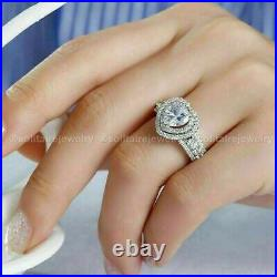 Certified Diamond Halo Engagement Ring Solid 14K White Gold 3.00 CT Heart Cut