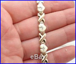 Diamond Cut Hearts & Kisses Bracelet with Lobster Clasp REAL 10K Yellow Gold