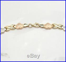 Diamond Cut Hearts & Kisses Chain Necklace Real 10K Yellow White Rose Pink Gold
