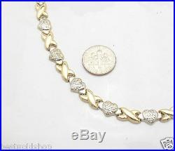Diamond Cut Hearts & Kisses Chain Necklace Real 14K Yellow White Gold 12.20gr