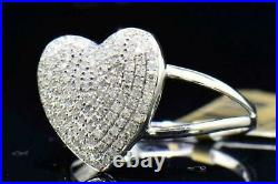 Diamond Heart Fashion Cocktail Ring 10K White Gold Over Domed Round Cut 1.20 Ct