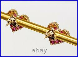 Estate $1500 2ct Natural Square Cut RUBY Diamond HEART 14k Yellow Gold Earrings