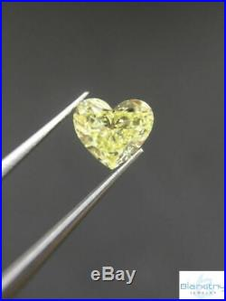 Heart Cut Natural Loose Diamond 0.43 CT Color Fancy Light Yellow Si1 GIA