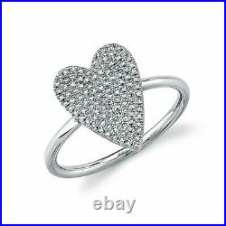Heart Diamond Women Ring 14K White Gold Over Pave Set Round Cut 1.26 CT Cocktail