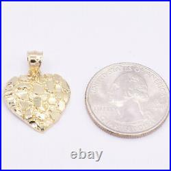 Heart Shape Diamond Cut Nugget Style Pendant Real SOLID 10K Yellow White Gold