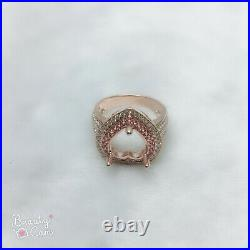 Heart-shaped cut 11mm 14k Solid Rose Gold Natural Diamond Semi-Mount Ring