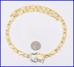 Hearts & Kisses Diamond Cut Chain Necklace 14K ALL Yellow Gold Clad 925 Silver
