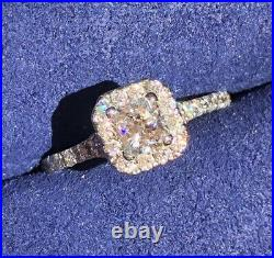 Hearts on Fire 0.91tcw Diamond Halo Dream Cut Engagement Ring $10255 Cert/Rcpt/