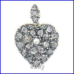 Just reduced! Antique rose-cut diamond set heart pendant Set In Silver On Gold