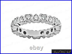 Natural 0.55Ct Round Cut Diamond Heart Eternity Band Ring 10k White Gold GH I1
