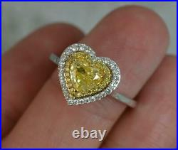 Natural 1.03ct Yellow Heart Cut Diamond 18ct Gold Halo Cluster Engagement Ring