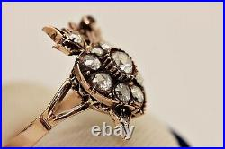Old Islamic 8k Gold Natural Rose Cut Diamond And Ruby Decorated Heart Arrow Ring