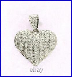 Puff Heart Pendant 2 Ct Round Cut Diamond Pave Set 14K White Gold Over Silver