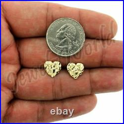 Real 10K Solid Yellow Gold 11MM Diamond Cut Small Heart Nugget Stud Earrings