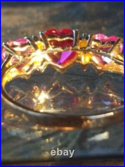 Ruby Pink Sapphires Heart Cut And Diamond Ring 10kt Solid Yellow Gold