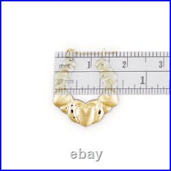 Small 10K Real Gold XO Diamond Cut Hearts Puffy Hollow Earrings 5/8 Inches Wide