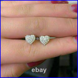 Solid 14K White Gold Fin1.80 Ct Round Cut Diamond Heart Cluster Stud Earrings