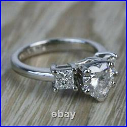 Solid 14k white Gold 3.67 ct Heart cut Engagement Three Stone Diamond Ring