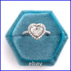 Solitaire Heart Cut Diamond 14k White Gold Over Halo Diamond Engagement Ring