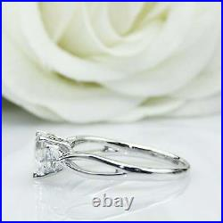 Unique Three Stone Engagement Ring 2.50 Ct Heart Cut Diamond 14K White Gold Over