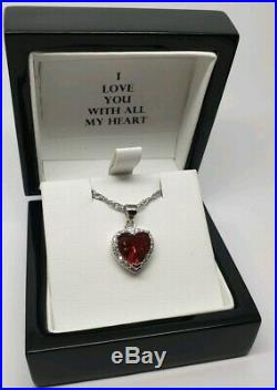 White gold finish heart cut red ruby and created diamond necklace valentines